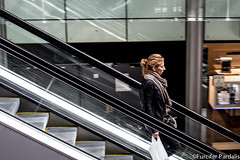 Escalator, Saint Lazare, Paris, France (Furcifer pardalis) Tags: street people woman train escalator streetphotography trainstation