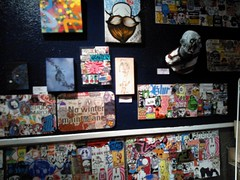 (andres musta) Tags: show streetart toronto ontario canada pasteup art graffiti la stickerart gallery wheatpaste stickers exhibition junction creatures revolucion crusty combo 2014 crustycreatures