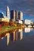After thunderstorm_Columbus Downtown (Sneezzzzz) Tags: city autumn ohio reflection building skyline architecture river fallcolor unitedstates foliage 5photosaday columbusdowntown sonyslt