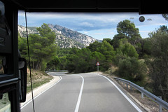 Heading for Barcelona (Jocey K) Tags: road trees sky signs clouds spain montserrat mountians cosmostour coachwindow tourtoeuropeinseptnov2012