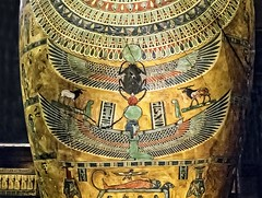 Closeup of paintings on the chest of the inner coffin of Meret-it-es Egypt Late Period to Ptolemaic Period 30th Dynasty to early Ptolemaic Dynasty 380-250 BCE Wood pigment gesso and gilding (mharrsch) Tags: coffin sarcophagus anthropoid gilded gold death burial funerary 30thdynasty ptolemaicdynasty lateperiod ptolemaicperiod religion myth goddess deity ancient nelsonatkinsmuseum kansascity missouri mharrsch