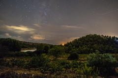Late Evening Sky over Montsant, Spain (Rene S. Suen) Tags: montsant spain september2016 start lighttrail vineyard ravine vines