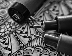 Zentangle - Macro Mondays October 10, 2016 (Explored October 10, 2016) (Anne Worner) Tags: 01mm anneworner em5 macromondays olympus ppep pens silverefex zentangle bw blackandwhite cap closeup drawing drawinginstrument fineliner macro permanent tangle 11