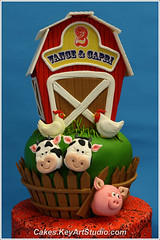 Farm-barn-yard-cake-03 (Cakes.KeyArtStudio.com) Tags: red horse dog white house black rabbit green chicken animals cake kids barn yard fence children pig cow cowboy village child farm montreal country cock chick western lamb piglet bandana hen fondant gumpaste cowprint sugarpaste larissavolnitskaia keyartstudio