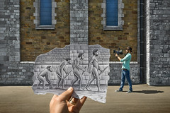 Pencil Vs Camera - 55 (Ben Heine) Tags: camera portrait inspiration art church hat silhouette wall architecture composition project paper photography monkey sketch gun photographer hand belgium god drawing walk surrealism magic faith main religion attack dream roots evolution science dessin ombre follow charlesdarwin story creation illusion weapon revolution futurism instrument ape reality conflict beast imagination species imaging papier tool faade origins following darwinism singe crosshatching confrontation follower homosapiens filmdirector evolutionism pastpresentfuture prhistoire appareilphoto shadom davidegentile ralitaugmente benheine braives hommeprhistorique creativeseries stopfollowing pencilvscamera