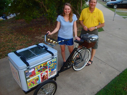 Lauren Gieseke with dad, Ben Gieseke, Ice cream bike, Shreveport by trudeau