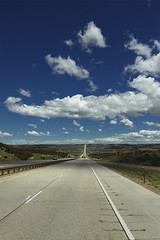 Road to Nowhere (~Daniel G) Tags: sky clouds vanishingpoint roadtrip wyoming canon50d
