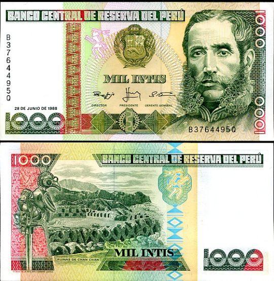 1000 Intis Peru 1986-8, Pick 136
