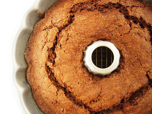 Chocolate zucchini cake in pan, take one