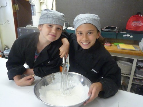 Sierra and Bianca whip cream by hand for Creme Chantilly