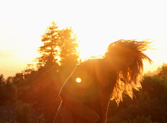 (bellejune) Tags: trees sky sun hair golden flare hairflip bellejune