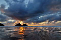 Dark and Stormy Night (clearbluelight) Tags: sunset beach clouds cornwall tokina1224 stormy lowtide rivulets holywellbay moodyweather magicalskies