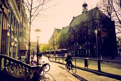 Low Sun @ Janskerkhof, Utrecht, The Netherlands (lambertwm) Tags: sunlight holland church backlight zonsondergang utrecht thenetherlands bicycles crossprocessing backlit lowsun tegenlicht zonlicht fietsers lantaarnpaal againstthelight luden janskerkhof lr4 lagezon rgbcurves lanterpost