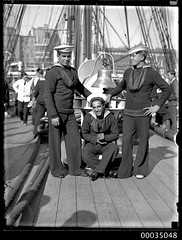 Chilean sailors posing on the deck of GENERAL BAQUEDANO, July 1931