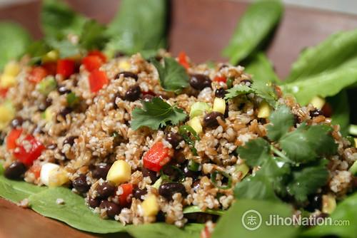 Tabbouleh Salad: diced mango, cilantro, bell pepper, cumin lime vinaigrette