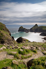 (Claire Hutton) Tags: uk longexposure blue sea colour green beach water misty clouds coast daylight seaside cornwall dramatic cliffs ndfilter kynancecove 10stop nd110 bw110