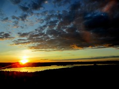 Evening glow (~ Mariana ~) Tags: road city trip travel blue sunset red summer vacation sky urban panorama orange foothills lake reflection calgary water colors field rain clouds canon dark outside gold evening town spring twilight highway view dusk earth air sunny ab d