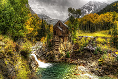 Crystal Mill 5 (Serithian) Tags: hdr high dynamic range sony alpha a6000 photomatix fall colors aspens marble crystal colorado rocky mountains mill river town clouds snow leaves autumn
