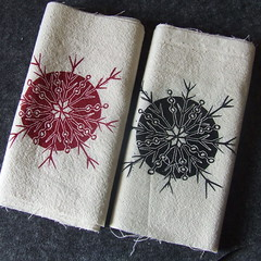 lino cut printed fabric