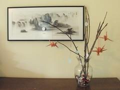 Vase with Origami Cranes