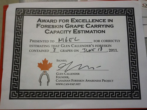 Award for Excellence in Foreskin Grape Carrying Capacity Estimation