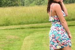 I wish sun dresses were appropriate all year long. (Shauna ) Tags: pink blue summer green girl yellow vintage outside dress tan curls curly sundress