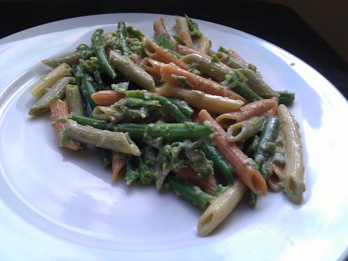 Green Bean Cream Sauce over Vegetable Pasta