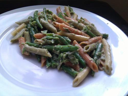 Green Bean Cream Sauce over Vegetable Pasta