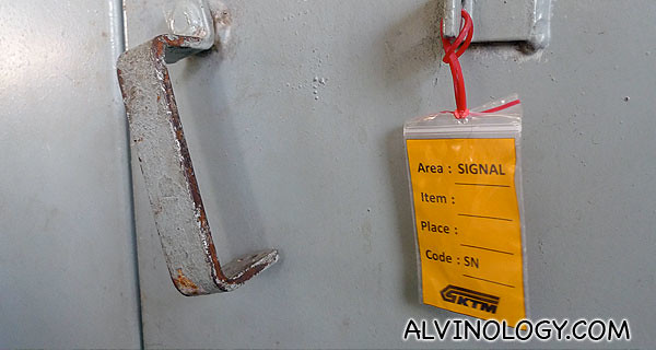 Items belonging to KTM Railway are tagged with this yellow label as they clear out the gate houses
