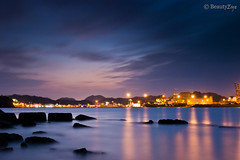 Muscat - Beautiful Day (Beauty Eye) Tags: city longexposure nightphotography sunset sea mountain seascape building green eye architecture night photoshop canon dark landscape boats eos rebel landscapes long exposu