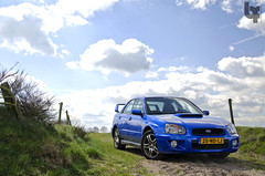 Photoshoot Subaru Impreza WRX (*explored) (Bas Fransen Photography) Tags: auto blue sky sun english nature netherlands car clouds cool nikon