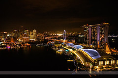 Marina Bay Sands, Singapore (Seven Seconds Before Sunrise) Tags: travel skyline architecture night lights singapore asia casino laser ferriswheel marinabay lioncity singaporeflyer marinabaysands