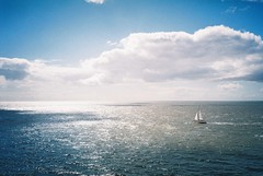 (Aage Drake) Tags: blue sea sky clouds boat waves sailing shadows horizon sunny northsea olympusxa fujisuperia200