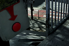 W a l k L i n e s (Hoalen) Tags: street light red urban paris france french rouge nikon crossing shadows pedestrian button passage ville ombres bouton barrire piton d90