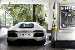 Refueling. (Alex Penfold) Tags: auto camera white london cars alex sports car station sport mobile canon photography eos photo cool flickr image awesome flash picture super spot exotic photograph spotted hyper petrol bp lamborghini supercar spotting matte exotica sportscar 2012 sportscars chl supercars penfold spotter refeuling hypercar 60d hypercars aventador fa57 lp700 alexpenfold fa57chl
