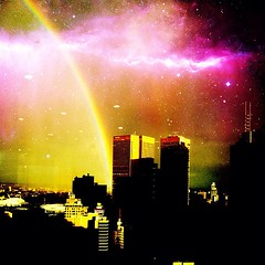 Following the aliens (Ruben Daniel Mascaro Photography) Tags: city sky reflection buildings square stars lights rainbow skyscrapers purple space australia melbourne victoria cbd iphone milkyway mustang1430 casseldenplace casselden iphoneography