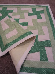 fundraiser quilt green whirligig (just me, molly) Tags: baby green wheel pin quilt border polka dot pinwheel whirligig mitered