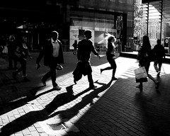 commuters (donvucl) Tags: bw london evening shadows silhouettes rushhour eustonstation donvucl fujix100s