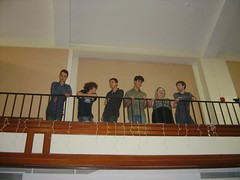 Some of the non-senior high schoolers and recent graduates were watching the graduation from the balconies -- here's a nice lineup (Tan Tachyon) Tags: kyle otto zack graduations ayden prema kenna 2014 afe alternativefamilyeducation