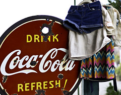 02469272-80-Hanging Laundry and Coca Cola-2 (Jim There's things half in shadow and in light) Tags: 2016 america april eldoradocanyon mojavedesert nelson nevada places southwest tamron45mmf18divcusd usa canon5dmarkiii nearlasvegas sign cocacola clothes red