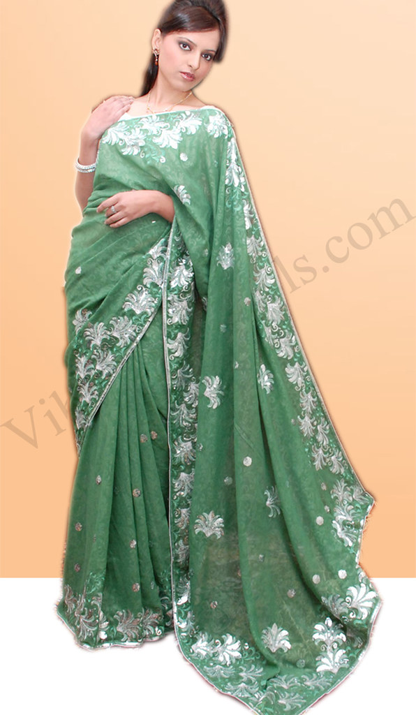 Pastel Green Faux Georgette Shimmer Saree