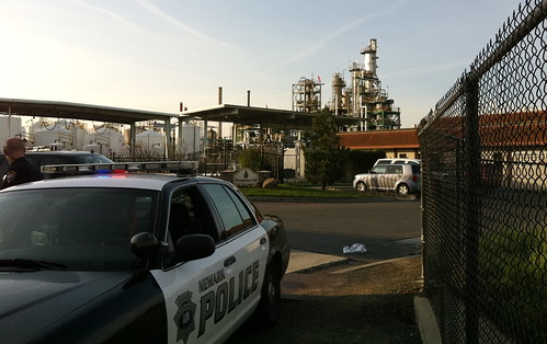 Two-alarm fire at Evergreen Oil Refinery