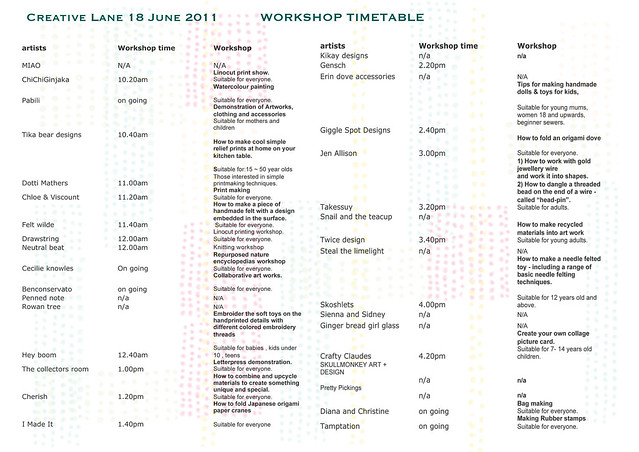 CL workshop timetable