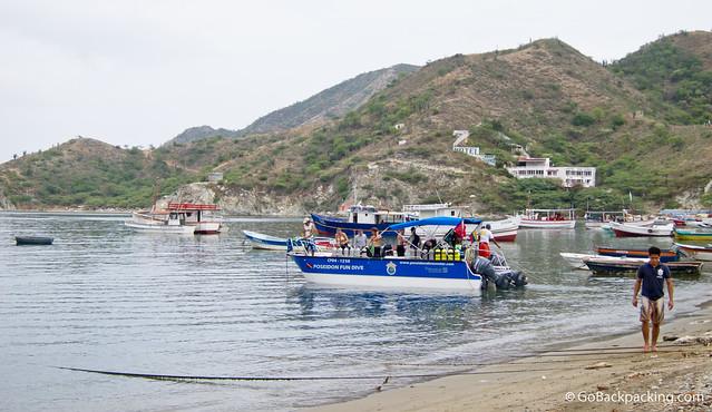 Dive boat in Taganga