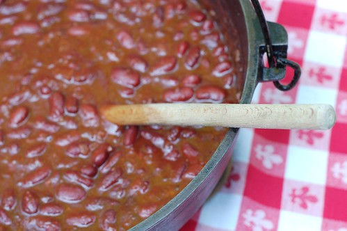 Big pot of barbecued beans by Eve Fox, Garden of Eating blog, copyright 2011