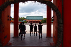 school girls (kmmanaka) Tags: japan kyoto torii heianjingu votivepicture shurine paperfortunes