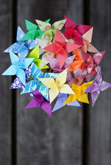 Rainbow Star Bouquet (Summer's Lens) Tags: flowers blue wedding flower art paper rainbow origami candy crafts craft vase bouquet blooms bridal favor quilling boutonniere