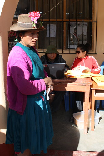 Local woman in Huamanquiquia waiting for her RUV certificate