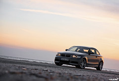 BMW 135i (Pixelklinik) Tags: ocean sunset sky beach canon bmw 28 coupe 1755mm 40d 135i spacegray