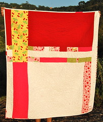 back of cherry quilt (bloomingpoppies) Tags: red cherries wonky freepieced whitesashing
